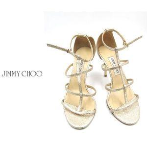 Jimmy Choo Dory Metallic Caged Sandal/Heel